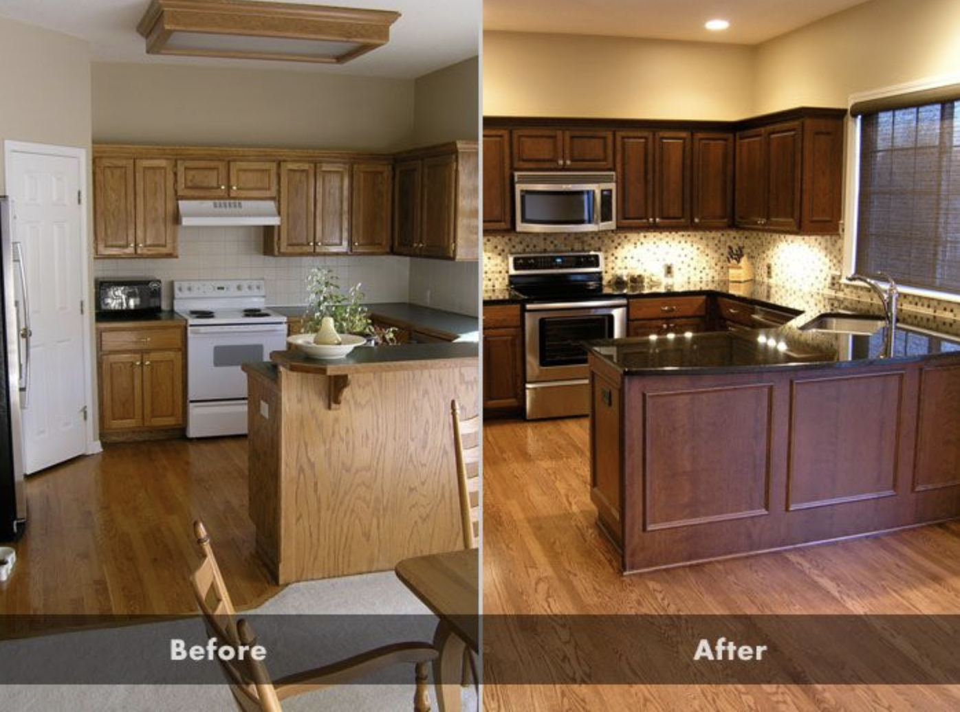 Before And After Pictures Of Custom Oak Cabinets Stained A Darker Color